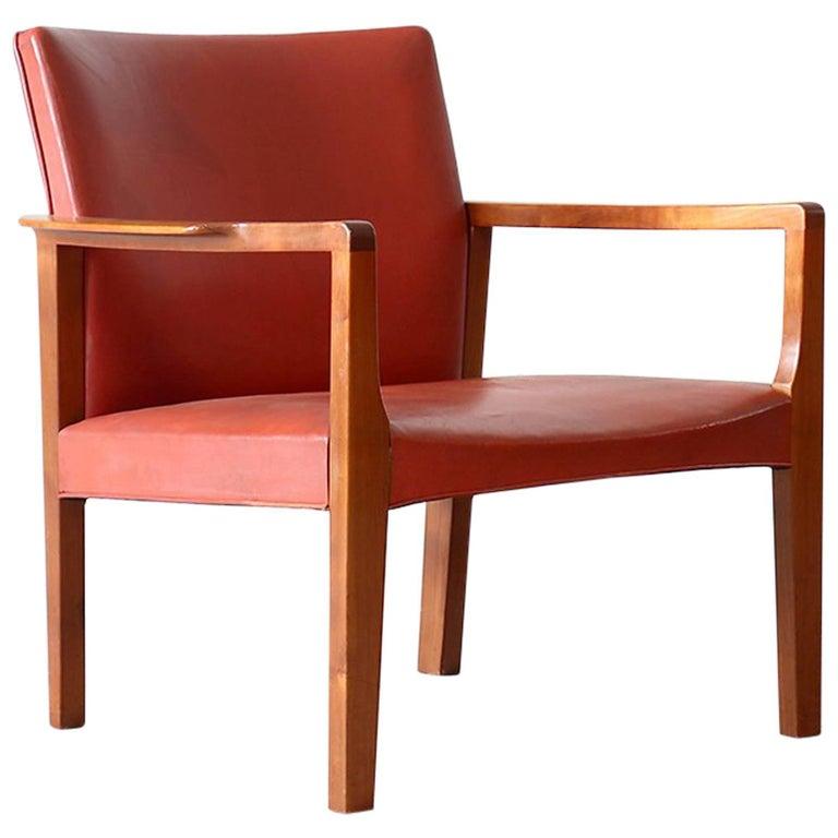 Børge Christian Christoffersen Cuban Mahogany & Leather Easy Chair Danish Modern