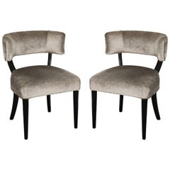 Klismos Style Upholstered Side Chairs
