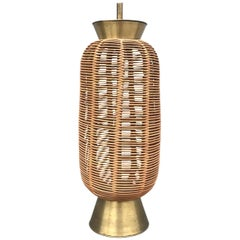 Fabulous Large 1950s Italian Rattan and Brass Table Lamp after Franco Albini