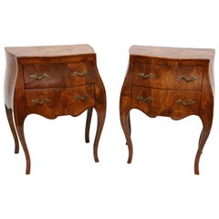 Italian Provencal Bombe Two-Drawer Side Tables