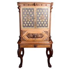 Fine Italian Carved Walnut Cocktail Cabinet
