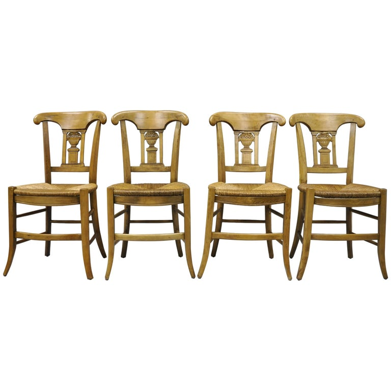 Cherrywood Primitive Country French Dining Chairs Woven Rush Seats Set of Four