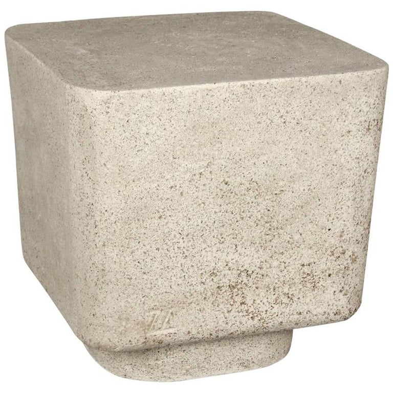 Lightweight Outdoor Side Table In Natural Concrete Finish By Zachary A Design For