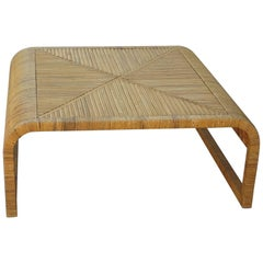 Rattan and cane coffee table 1980s