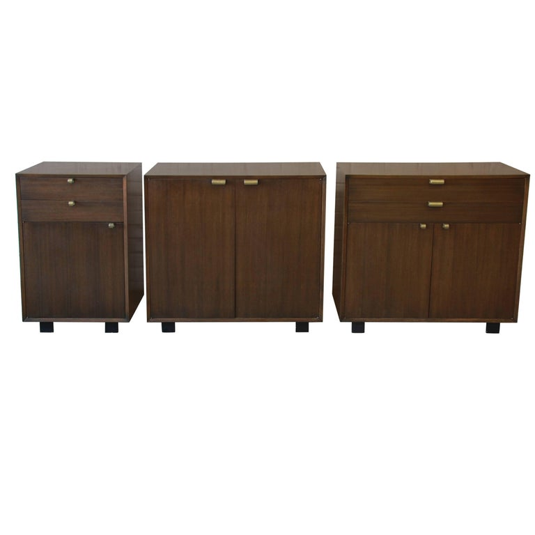 George Nelson for Herman Miller Mahogany Three-Piece Modular Sideboard Credenza