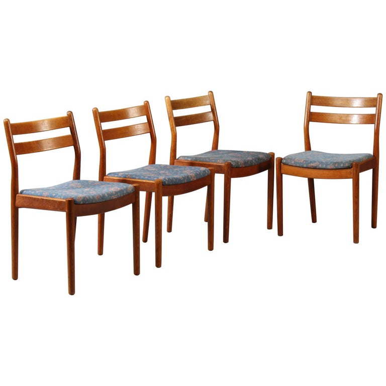 1960s Set of Four Reupholstered Danish Dining Chairs Model J61 by Poul Volther