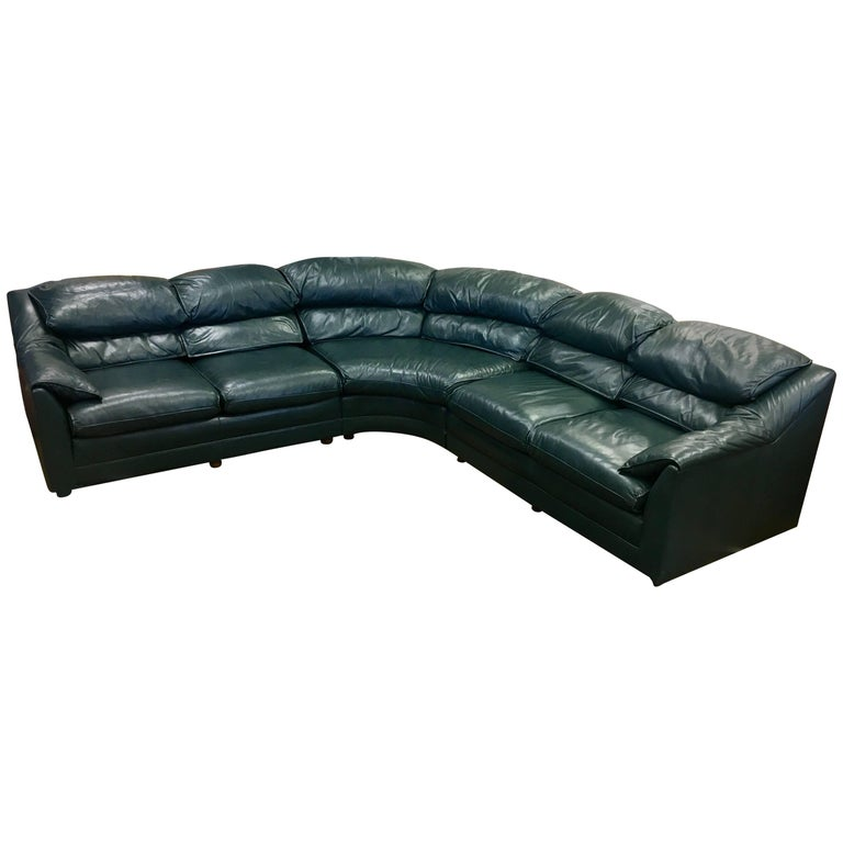 Hancock and Moore British Racing Green Leather Three Piece Sectional Sofa