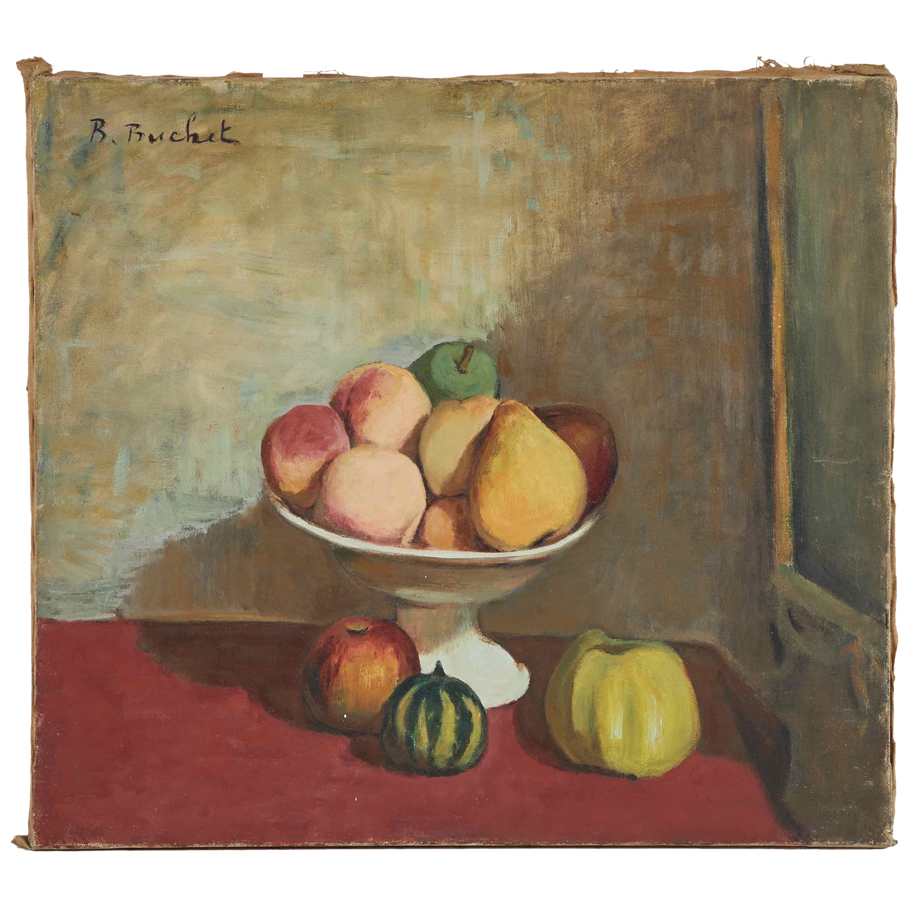 Still Life Oil Painting on Canvas of Fruit Bowl from France Circa 1900
