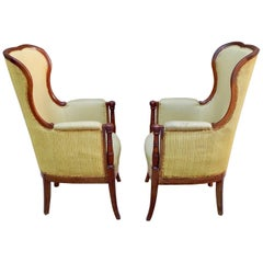 Pair of Swedish 1920's Exposed Frame Winged Back Chairs in Mahogany