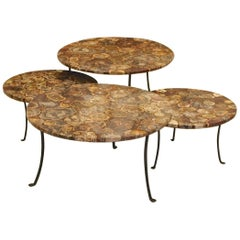 Set of Four Petrified Wood and Wrought Iron Coffee Tables