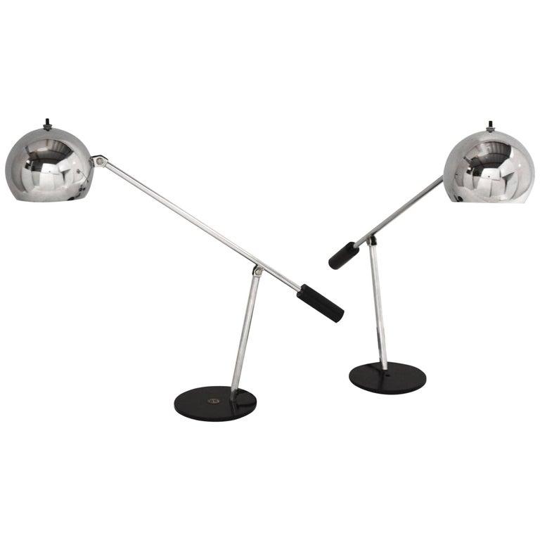 Pair of Chrome Tensor Lamps