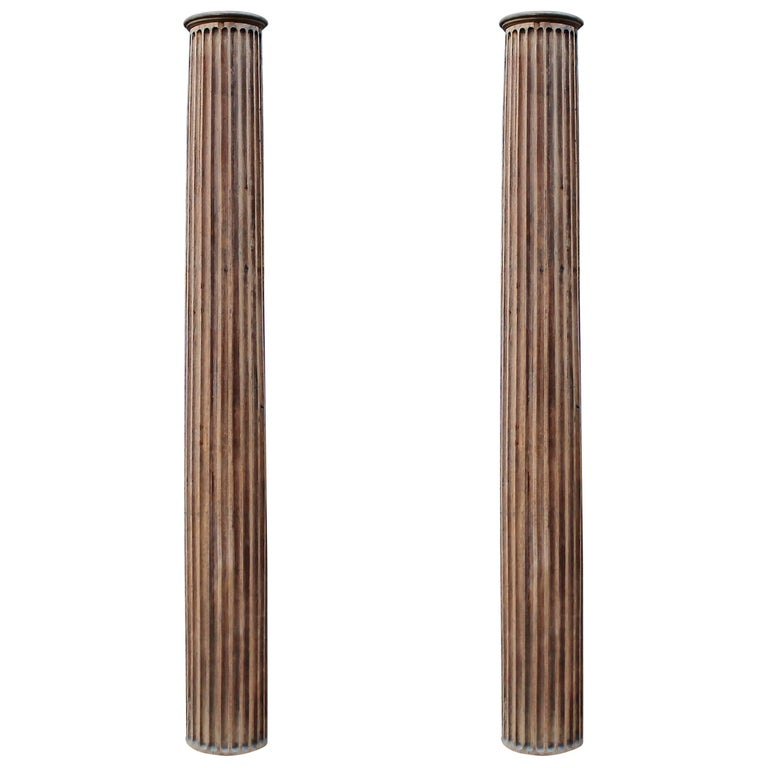 Pair of 19th c decorative wooden columns for sale at 1stdibs for Wood architectural columns