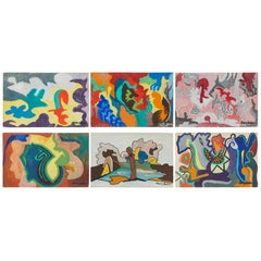 Set of Six Mid-Century Modern Abstract Watercolor Paintings from France