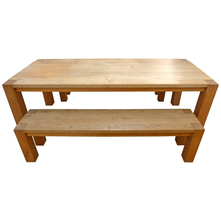 Solid Oak Bigfoot Table and Benches by Philipp Mainzer For Sale