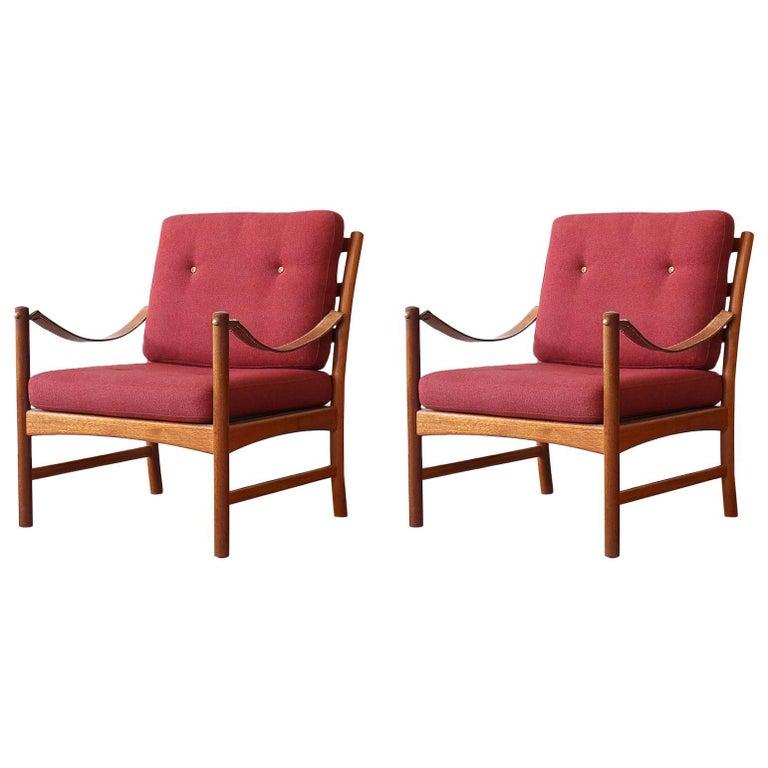 Ejner Larsen & Aksel Bender-Madsen Willy Beck Mahogany Easy Chairs Danish Modern