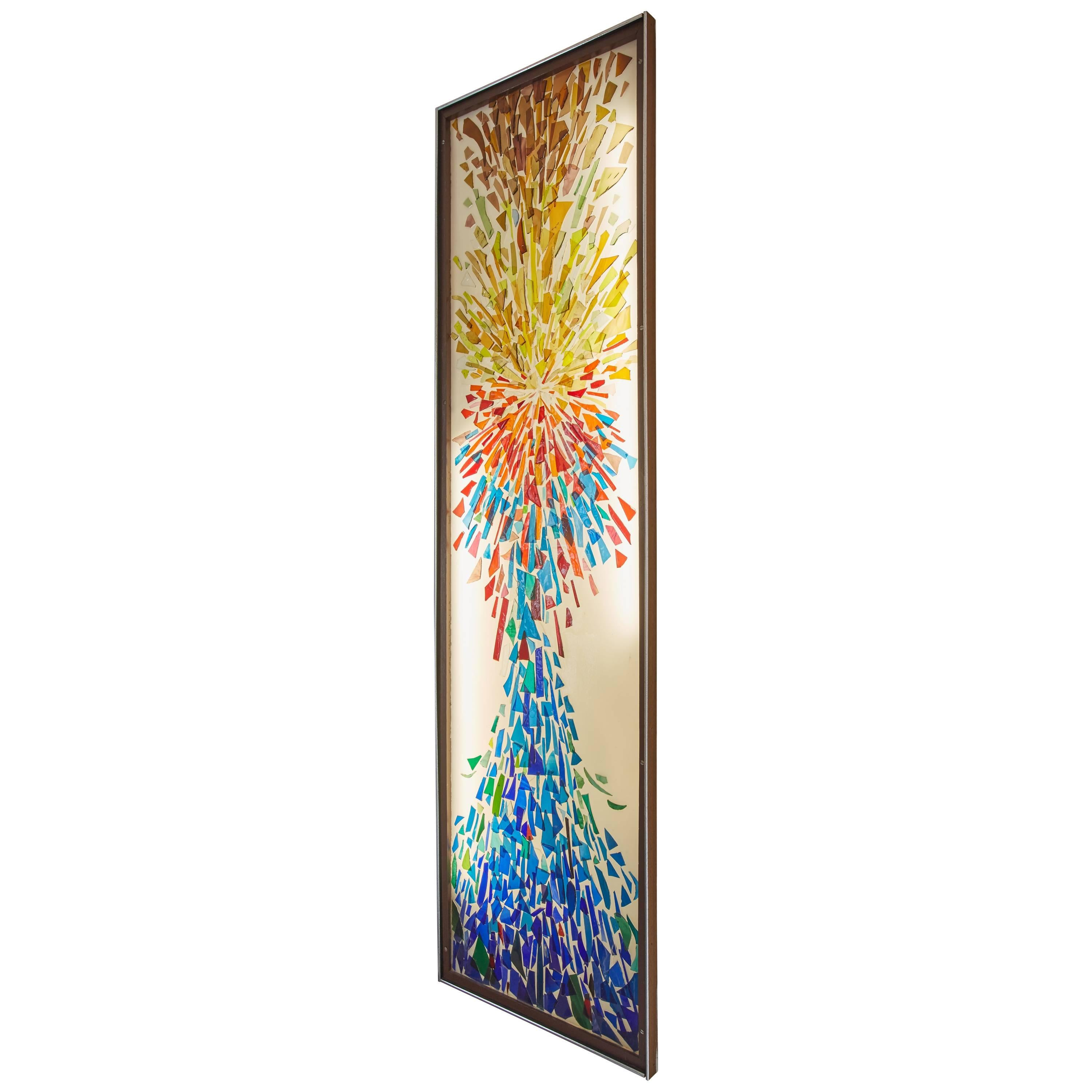 Custom Glass Mosaic Sculpture Wall Hanging With Lighting By Hayes Kelley  For Sale