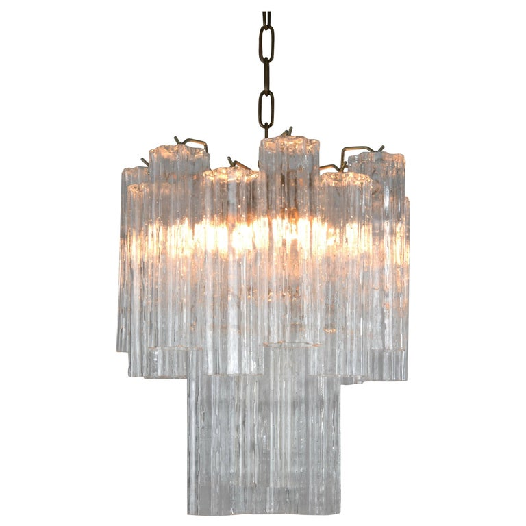 Venini Tronchi Chandelier with Eight Channel Tubes, Italy 1960s