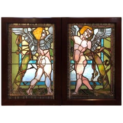 Pair of Antique Stained Glass Windows of Angels in Mahogany Frames
