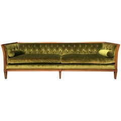 Antique French Velvet Chesterfield Sofa