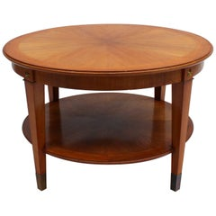 Fine French Art Deco Two-Tiered Walnut Gueridon by Dominique