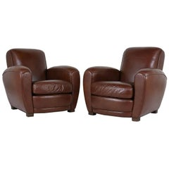 Pair of French Art Deco-style Leather Club Chairs