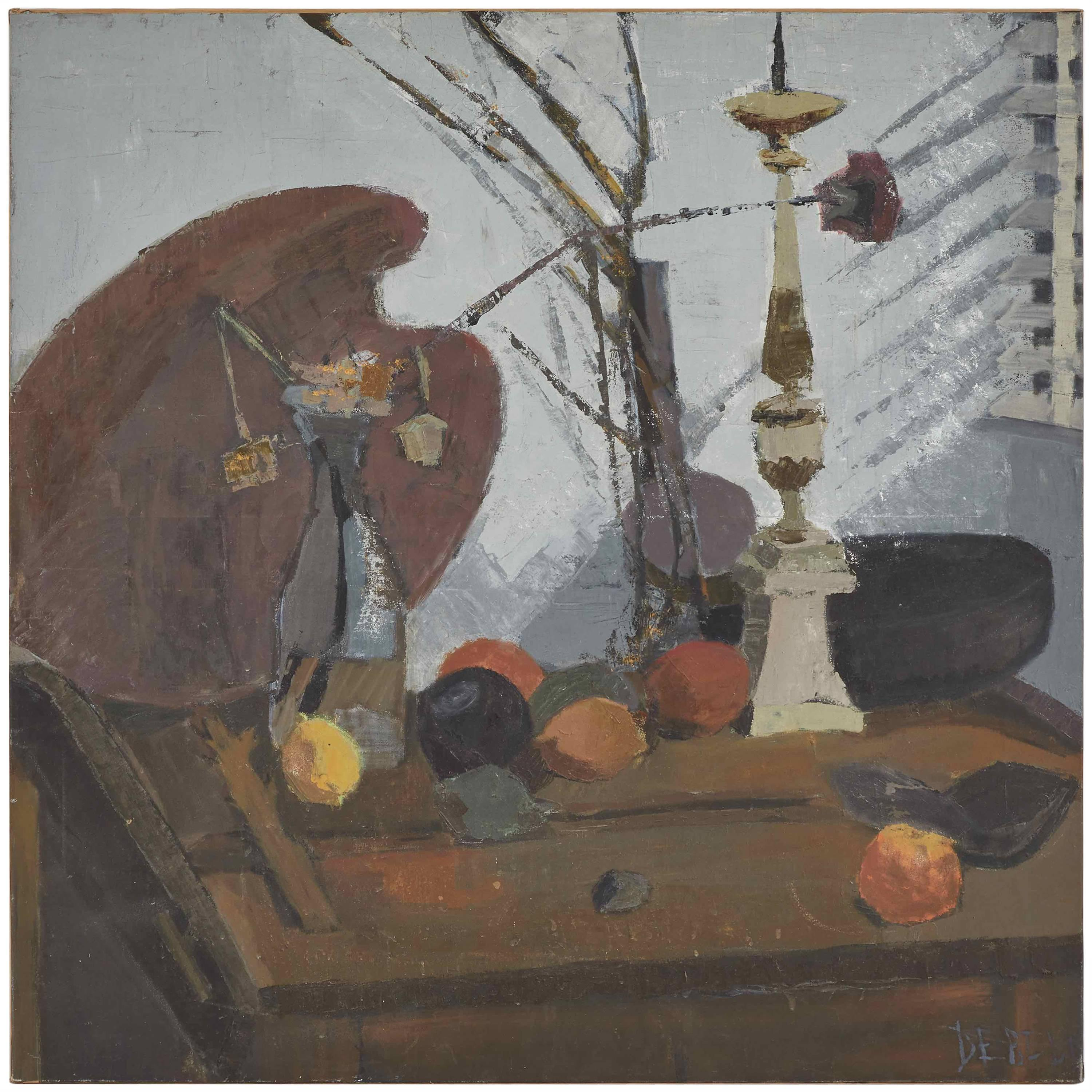 Early 20th Century Still Life Abstract Oil Painting from France