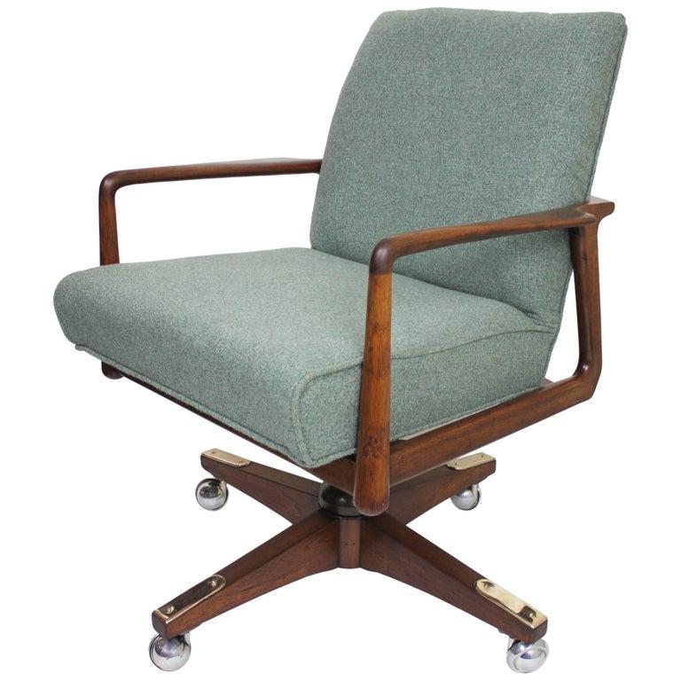 Vintage Mid Century Modern Walnut Desk Chair By George