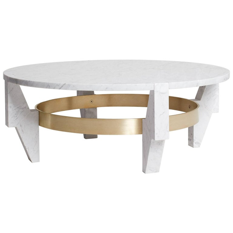 Low Ring Coffee Table Side Table in Carrara Marble and Brass by Nathan Hunt