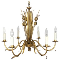"Italian Poppies Six-Light Hanging Fixture of Gilt Metal (26"" Diameter)"