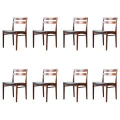 Set of Eight Henry Rosengren Hansen Brande Rosewood Dining Chairs Danish Modern