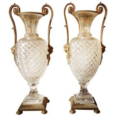 A Pair of French Louis XVI Style Bronze Mounted Cut Crystal Urns