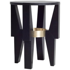 High Ring Side Table End Table in Nero Marquina Marble and Brass by Nathan Hunt