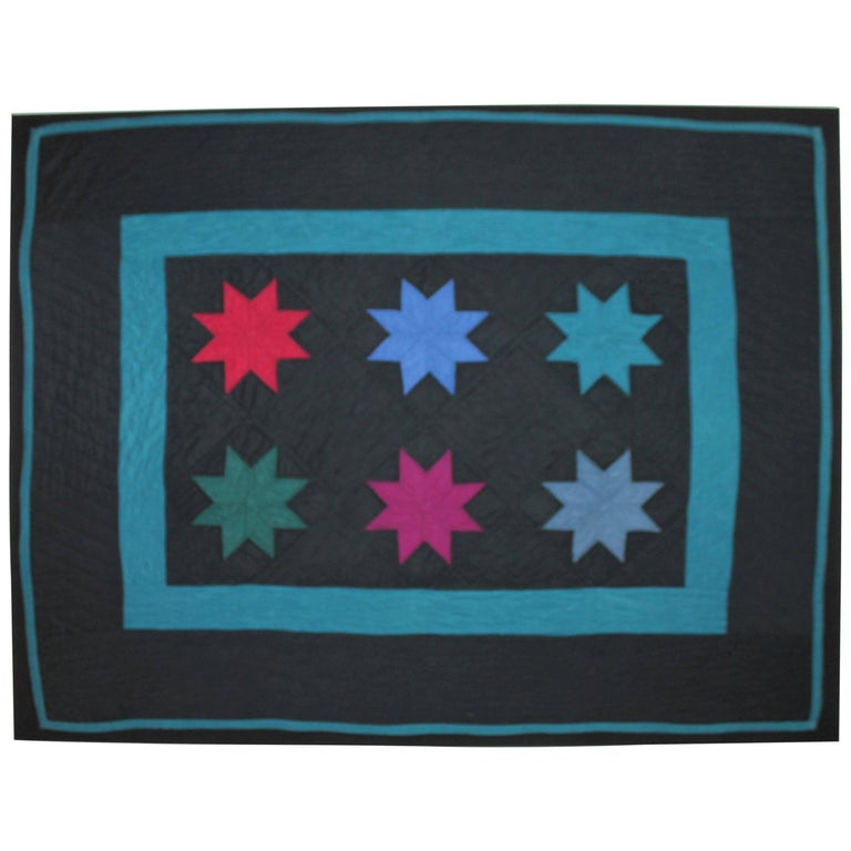 Amish Crib Quilt in Star Pattern Mounted on Custom Frame For Sale