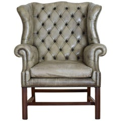 English Mahogany and Tufted Leather Wing Chair, 20th Century