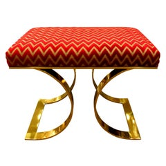 Karl Springer Chic JMF Bench in Brass, 1970s