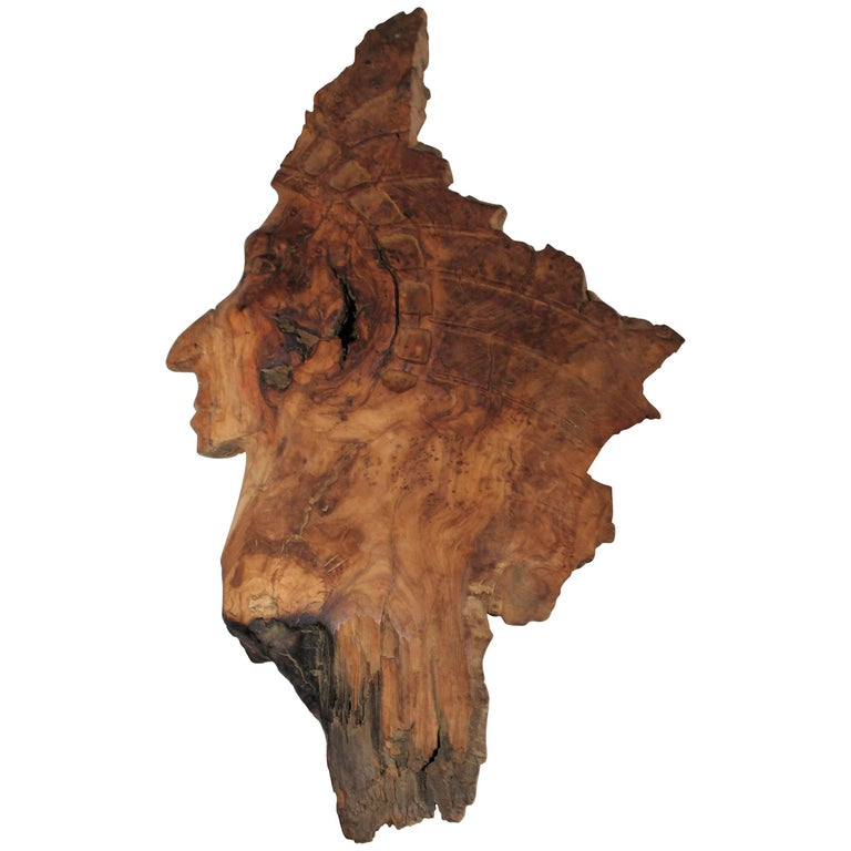 Indian Chief Hand-Carved From Olivewood