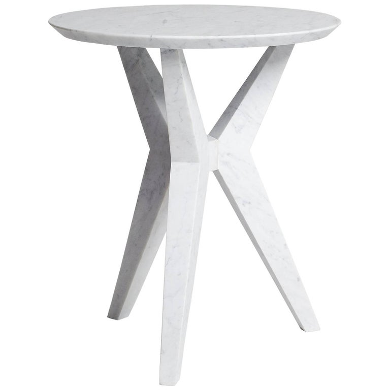 Tripod Side Table End Table in Hand-Carved Carrara Marble by Nathan Hunt