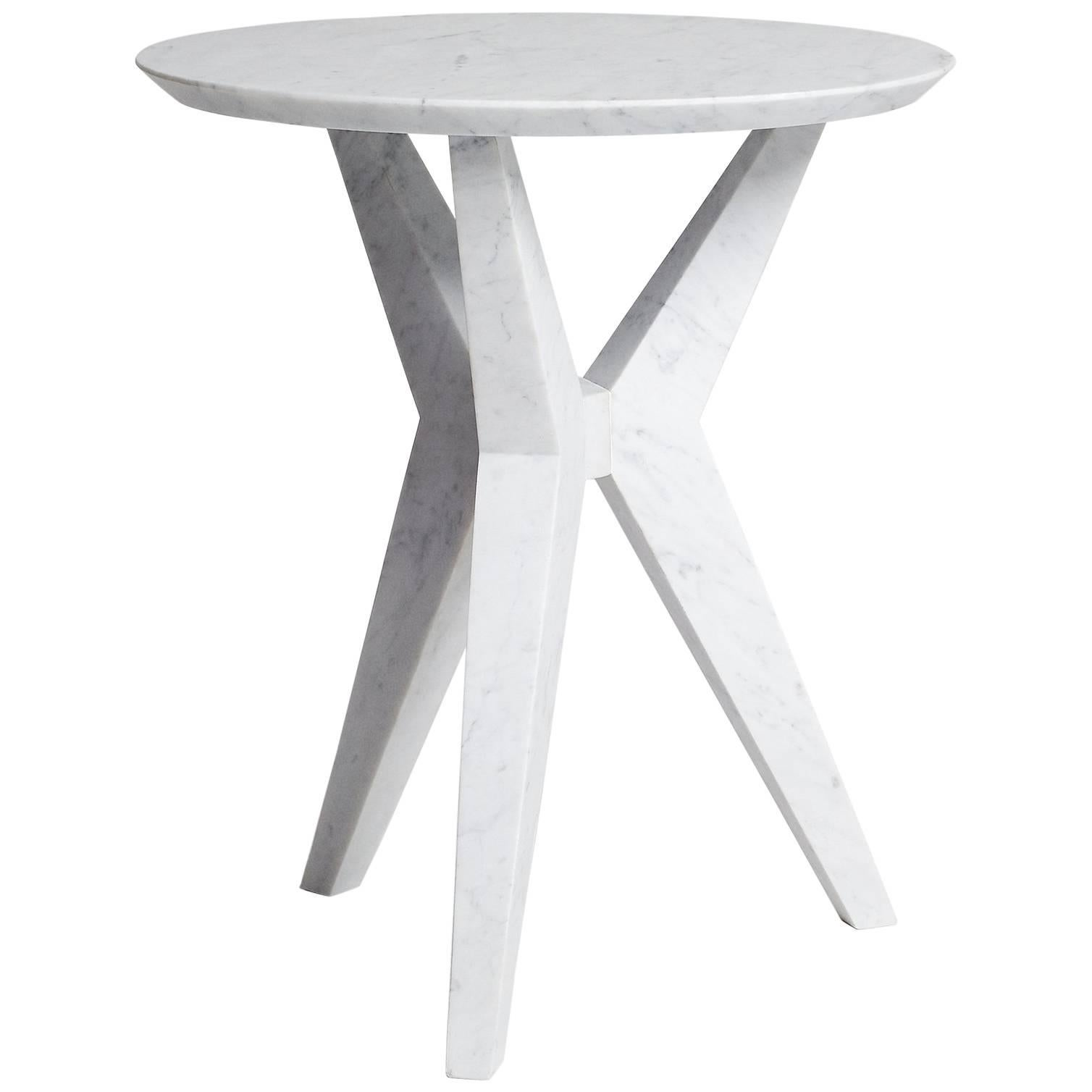 Tripod Side Table End Table In Hand Carved Carrara Marble By Nathan Hunt  For Sale