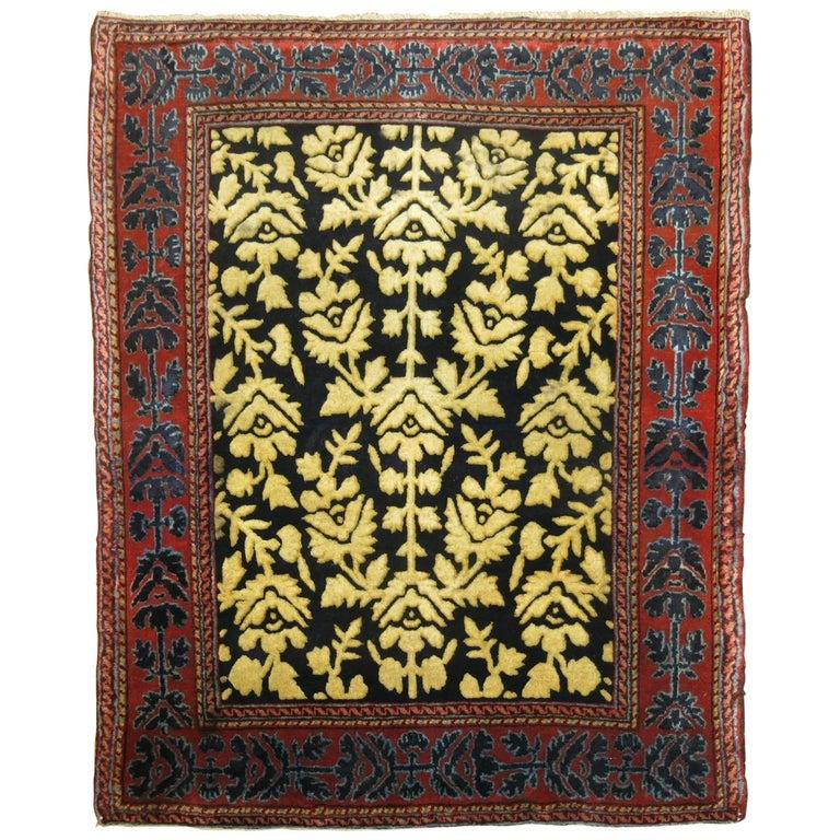 Antique Persian Silk 'Souf' Kashan Prayer Rug For Sale At
