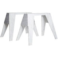 Workhorse Console Sawhorse Table in Hand-Carved Carrara Marble by Nathan Hunt