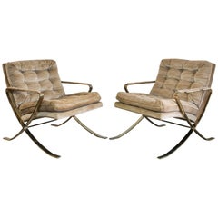 Milo Baughman X-Based Brass Club Chairs with Padded Arm Rests