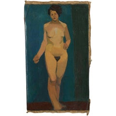 Early 20th Century Oil Painting of Nude Female on Blue Background