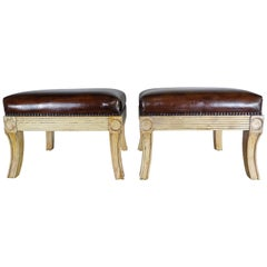 Pair of Italian Leather Upholstered Benches