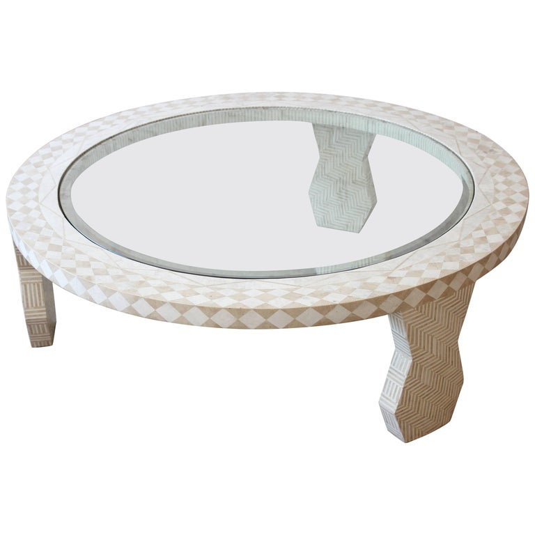 Tavola by Oggetti Tessellated Stone and Glass Mediterranean Style Cocktail Table