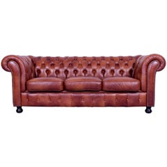 Chesterfield Three-Seat Sofa Brown Orange Cognac Vintage Retro Handmade Rivets