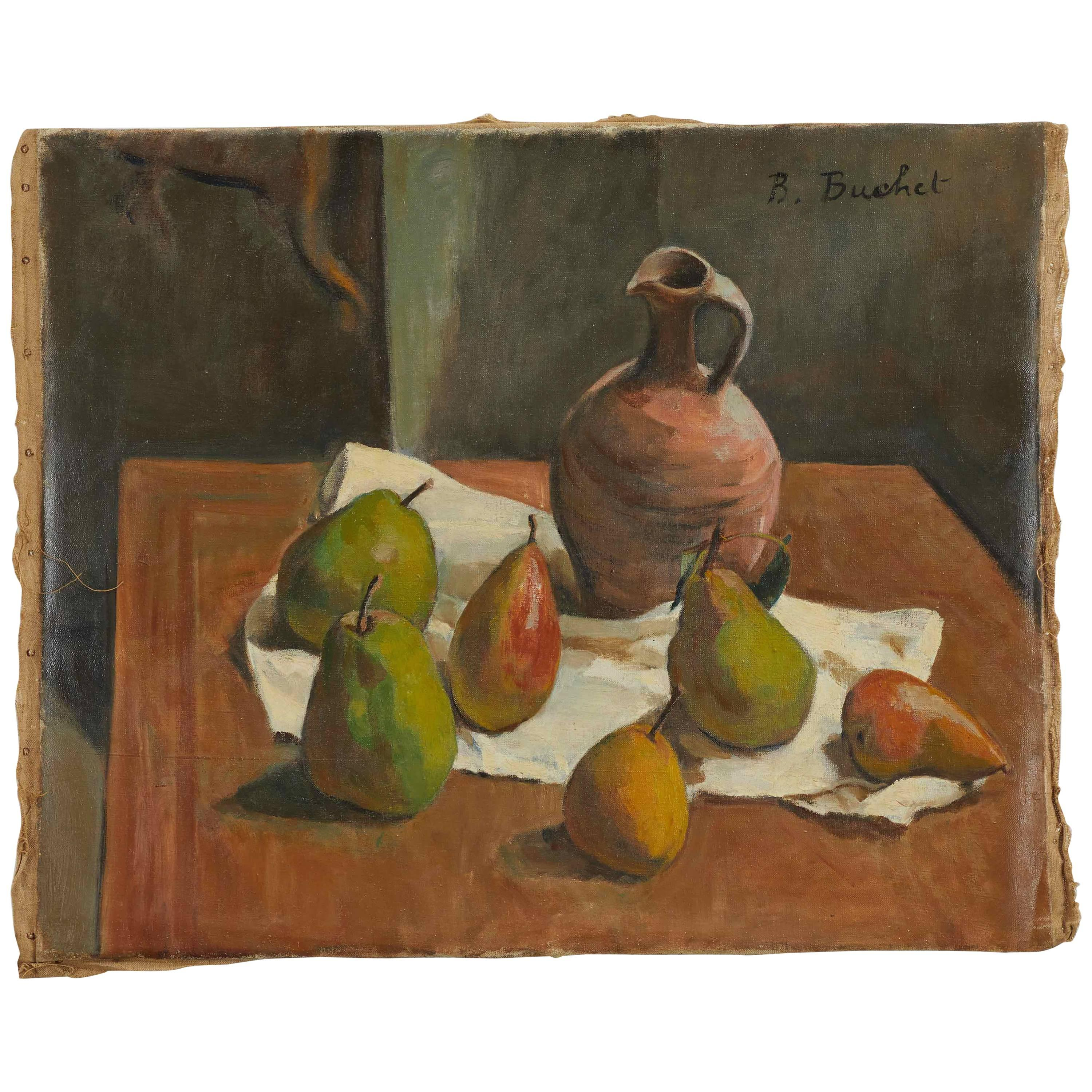 Early 20th Century Still Life Oil Painting on Canvas by artist B. Buchet