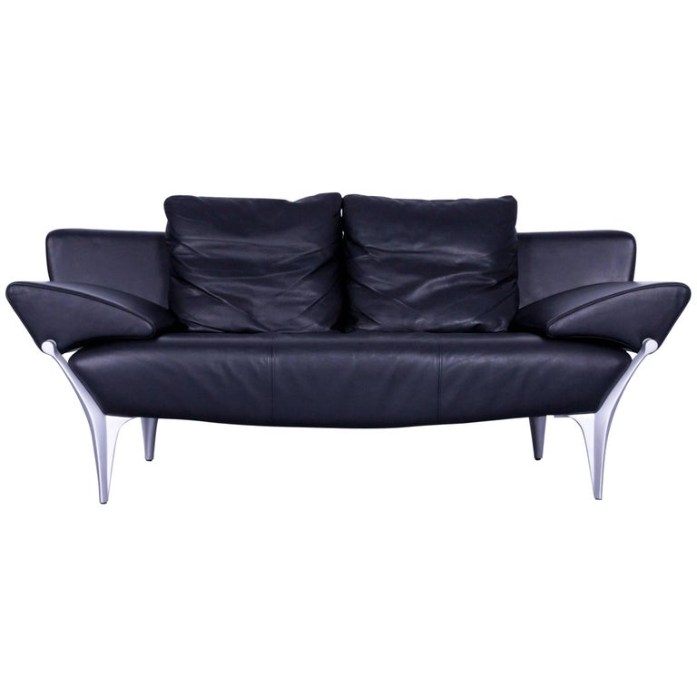 Rolf Benz Sob 1600 Designer Sofa Leather Black Two Seat Function Couch Modern