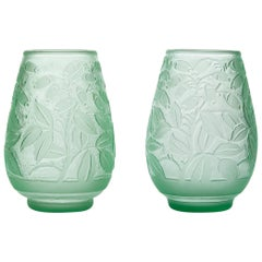 Daum, Incised Art Deco Glass Vases, France, Early 20th Century