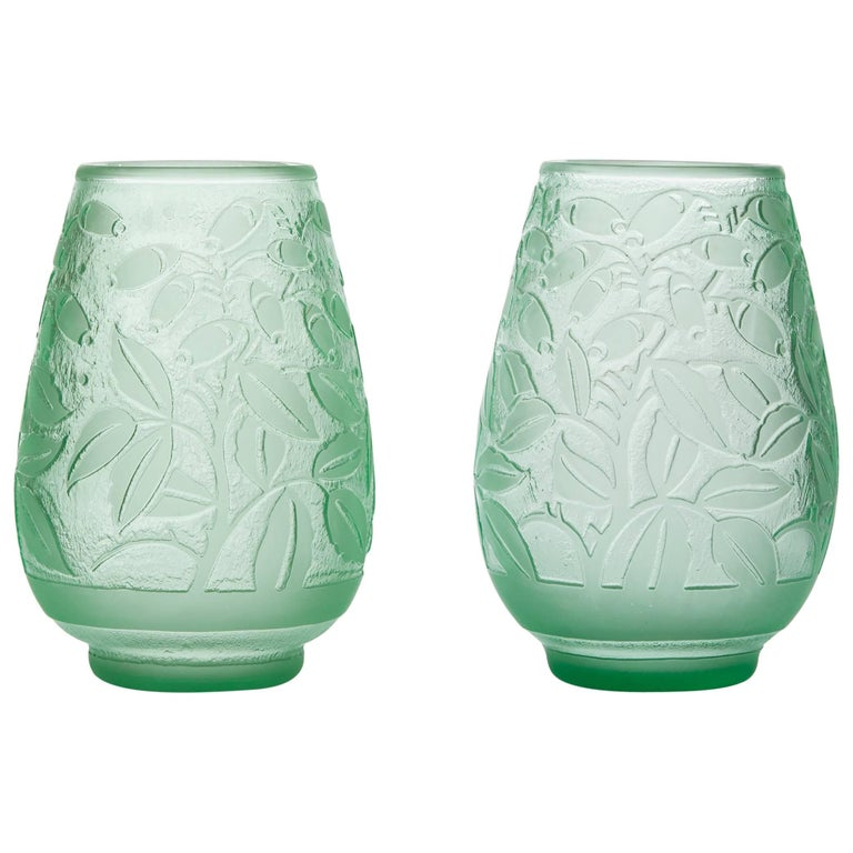 Daum, Incised Art Deco Glass Vases, France, Early 20th Century For Sale