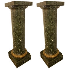 Pair of Louis XVI Monumental Louis XVI Style Green Marble / Malachite Pedestals